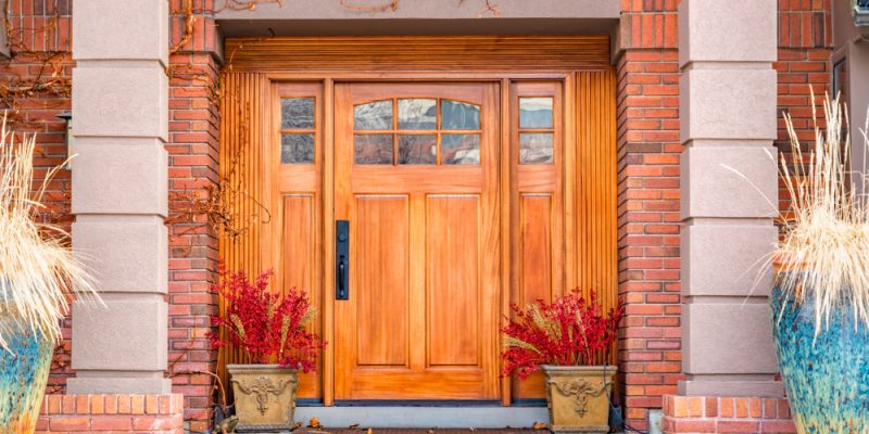 Wooden Entry Door in the fall