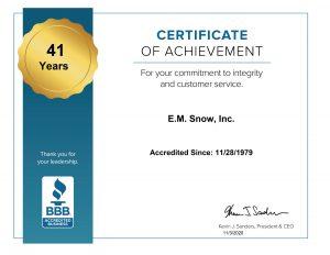 BBB Certificate of Achievement