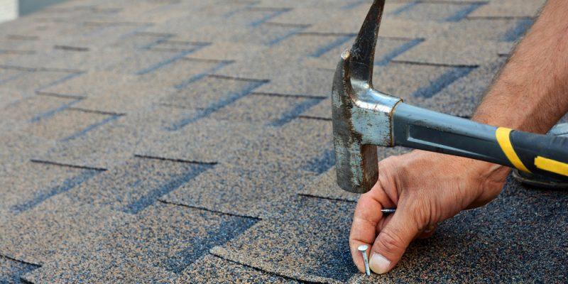 Roof maintenance, nailing screws into shingles